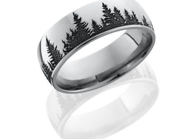 Cobalt Chrome 8mm domed band with laser carved Trees pattern