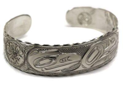 """Native Carved Bracelet Titled """"Raven in the Roses"""""""