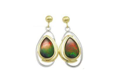 Pear Drop Korite Ammolite Earrings A+ Grade