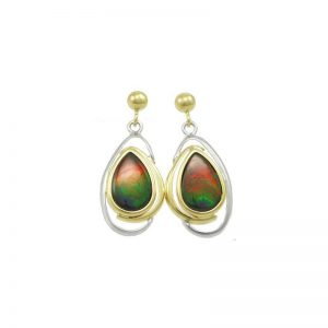 Pear Drop Korite Ammolite Earrings A+ Grade