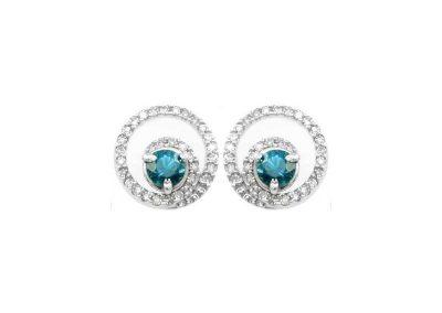 Round Glacier Ice and Diamond Earrings