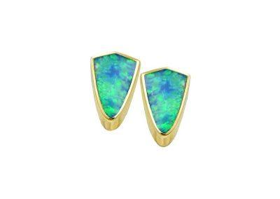Shield Shaped Opal Earrings-October Birthstone