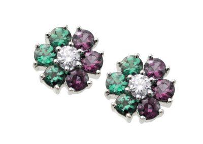 0.64ct Natural Alexandrite Flower Earrings