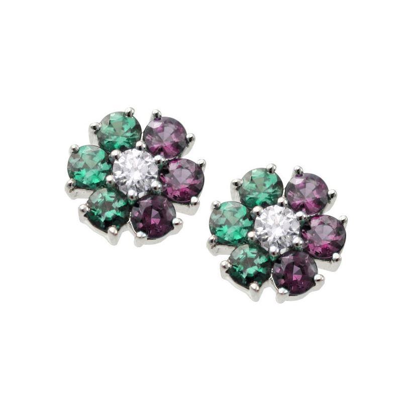 Natural Alexandrite Necklace: 0.64ct Natural Alexandrite Flower Earrings