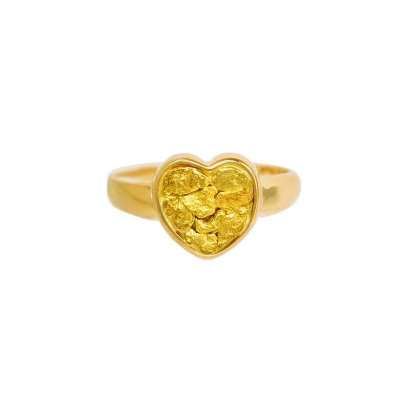 7f07fc5860e74 Lady's Genuine Gold Nugget Heart Ring