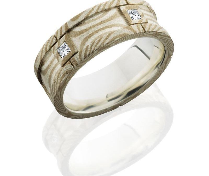 Mokume 7.5mm Flat Segment with PD, SS and Flush Set White Princess Cut Diamonds