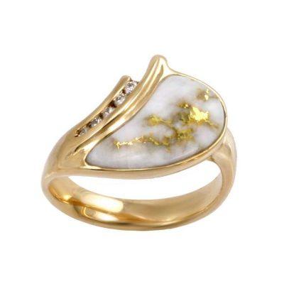 Gold in Quartz Rings Alaska Jewelry