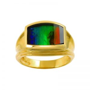 AA Grade Faceted Ammolite Men's Ring