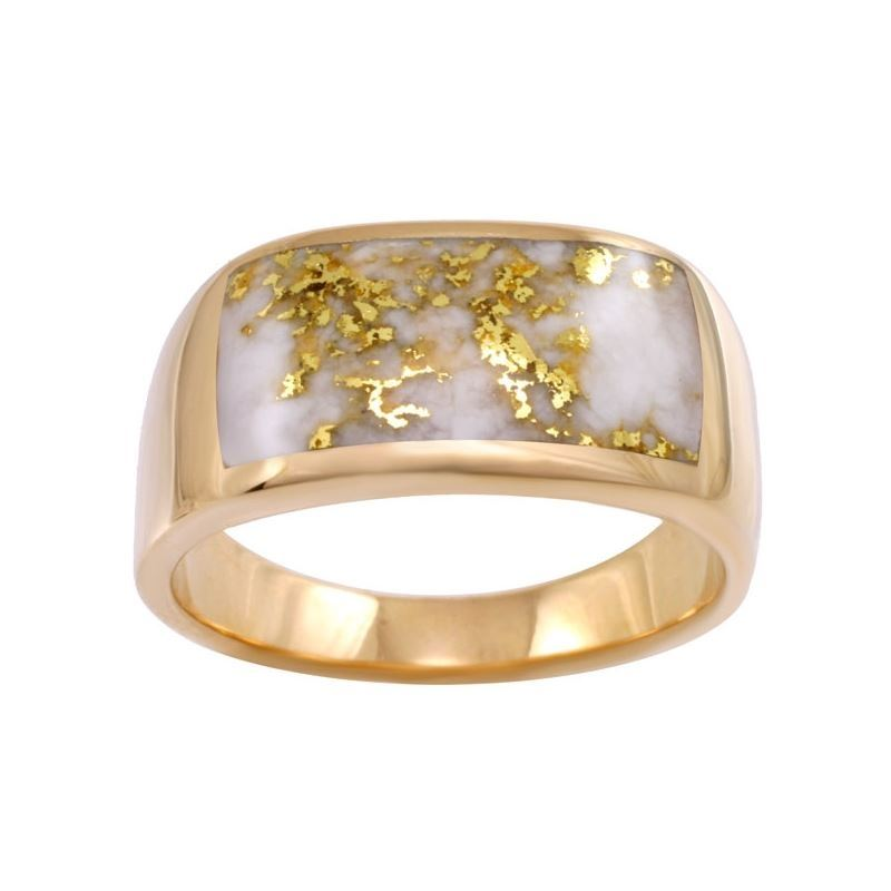 Wide Gold Quartz Inlaid Men S Ring Alaska Jewelry