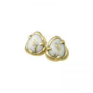 Freeform 14k Gold Quartz Stud Earrings