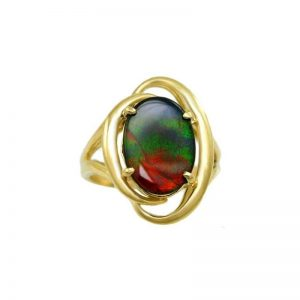14k Freeform Yellow Gold AA Ammolite Ring
