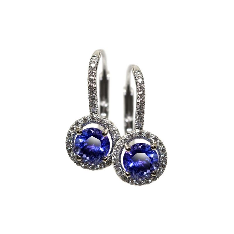 2 Carat Simple Tanzanite Drop Earrings - Alaska Jewelry