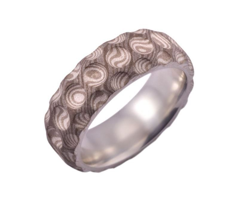 Concave Dot Mokume Men's Ring in White Gold, Palladium, and Sterling Silver