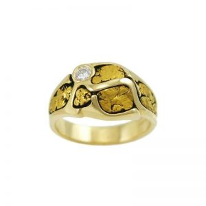 Handsome 14k Gold Nugget Ring with Antique Rail Design and .11 carat Diamond
