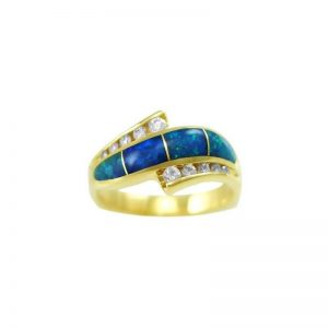 Stylish 4 Panel AAA Opal Inlay Ring and Channel Set Diamonds