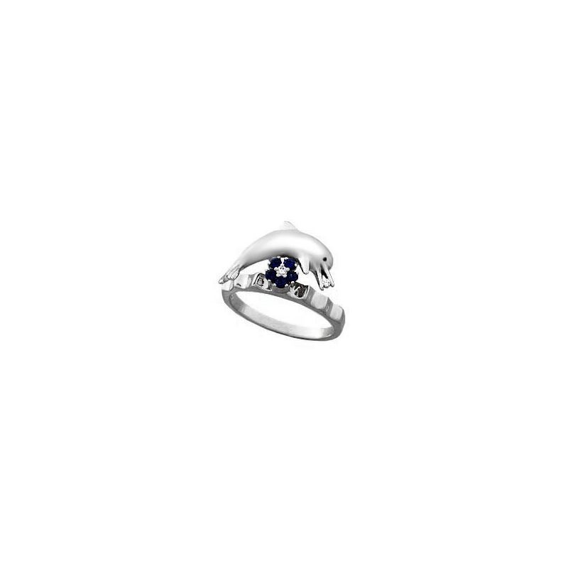 0.17 Carat Sapphire And Diamond Dolphin Motion Ring