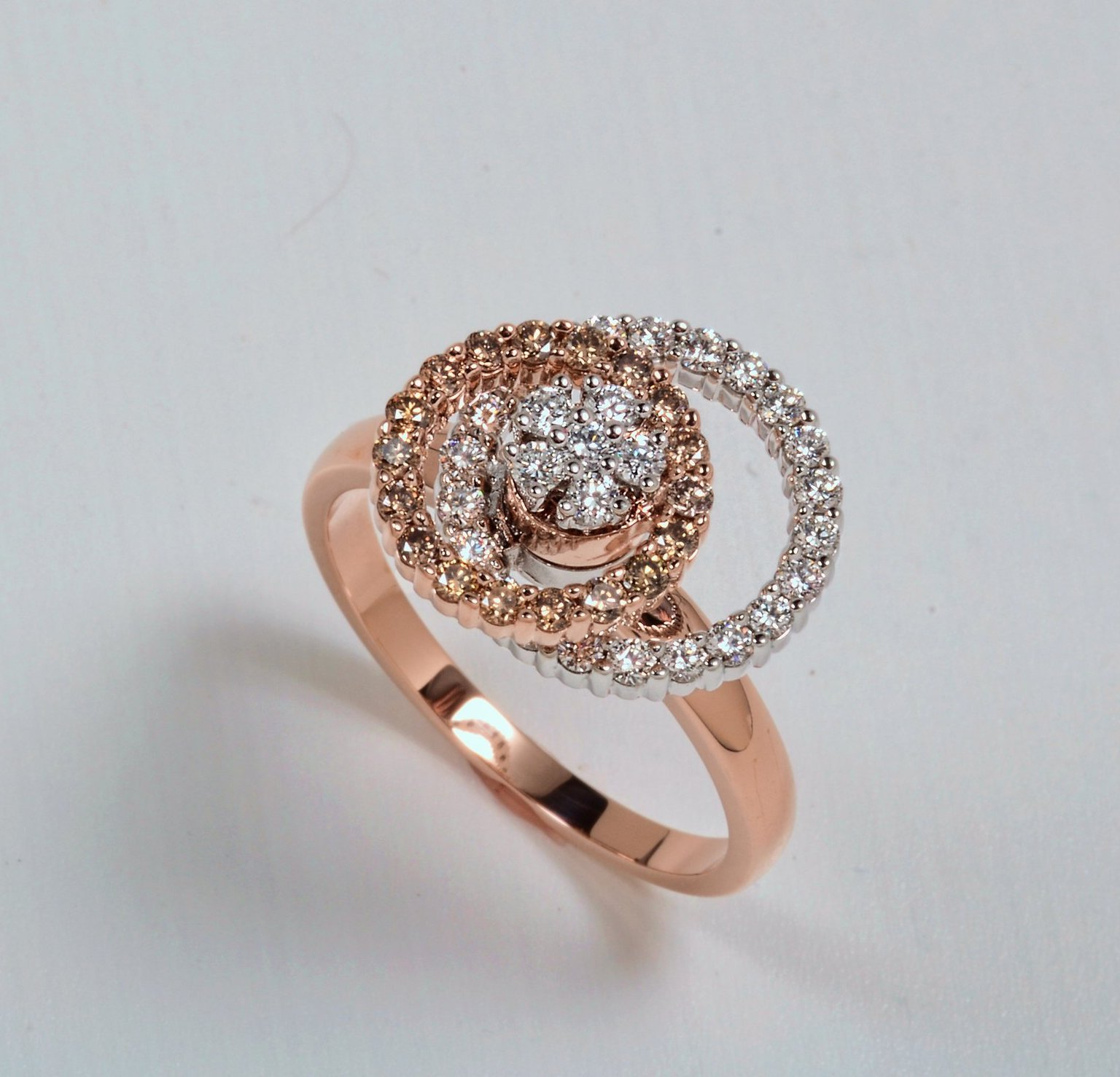 Rose Gold Motion Ring With Cognac Diamonds