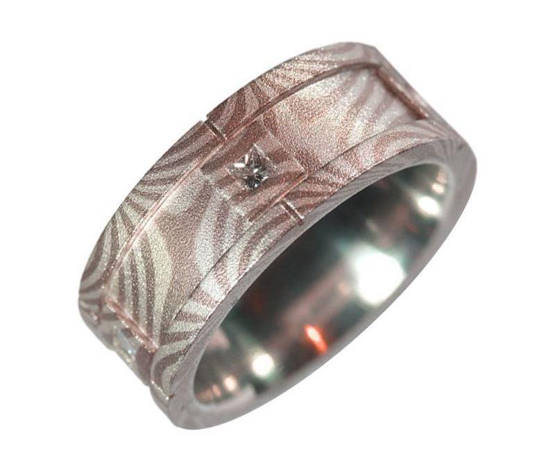 Mokume Gane Men's Ring -Sterling Silverand#8232; and Palladium White Gold with Diamonds