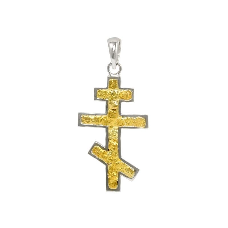White Gold Russian Orthodox Cross With Gold Nuggets Alaska Jewelry