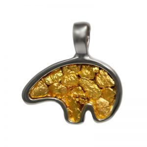 Medium Two-Tone Gold Nugget Bear Pendant