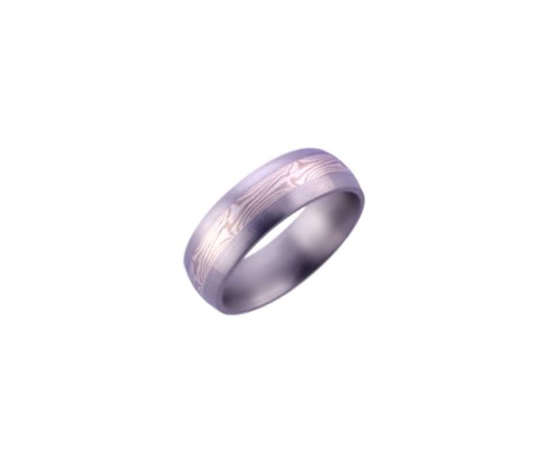 7mm Domed Titanium Men's Ring with Sterling and#8232;Silver and Paladium Mokume Inlay