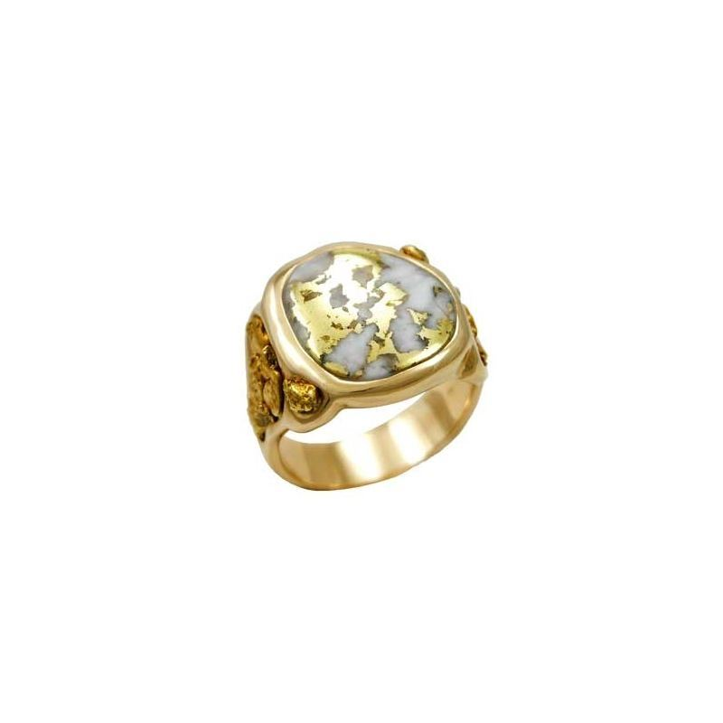 ab5992d179c99 HUGE Gold in Quartz Men's Ring with Natural Gold Nuggets