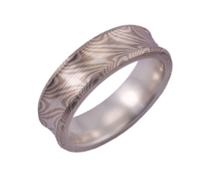 Concave Mokume Gane Men's Ring with Beveled Edge