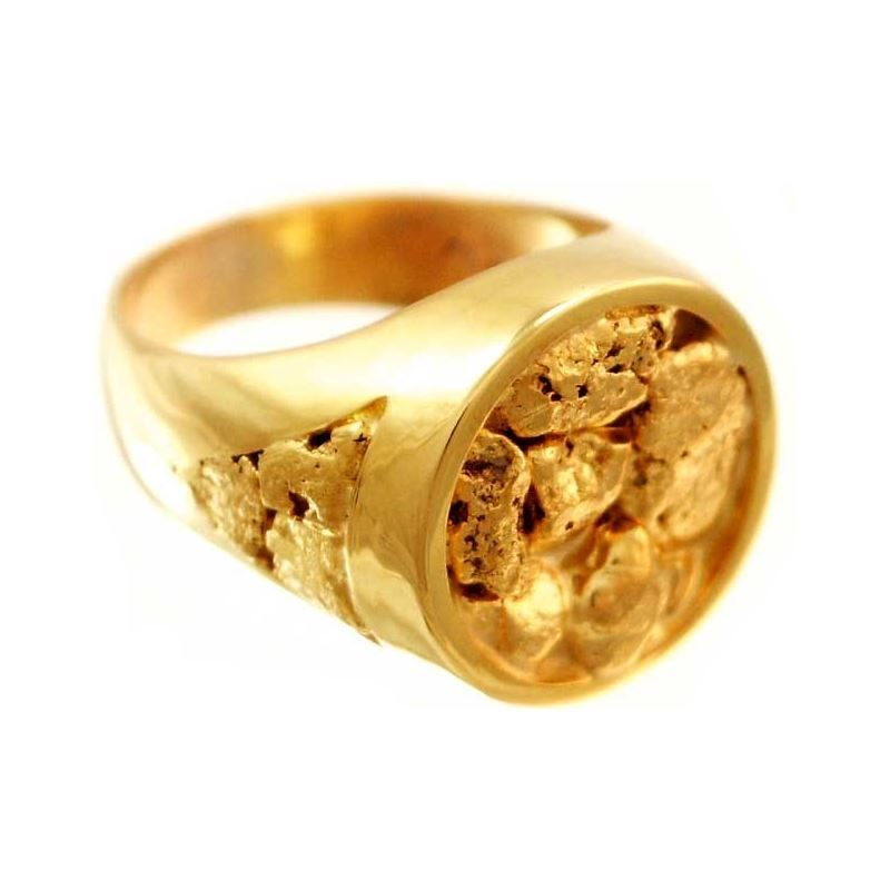 Round Faced Natural Alaskan Gold Nugget Mens Ring Alaska Jewelry
