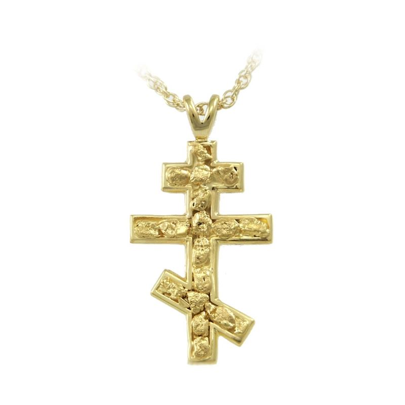 Russian orthodox cross pendant with nuggets alaska jewelry russian orthodox cross pendant aloadofball Images
