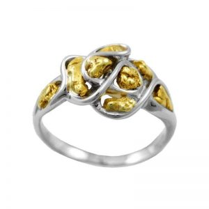 Free-form Alaskan Gold Nugget in white Gold ring